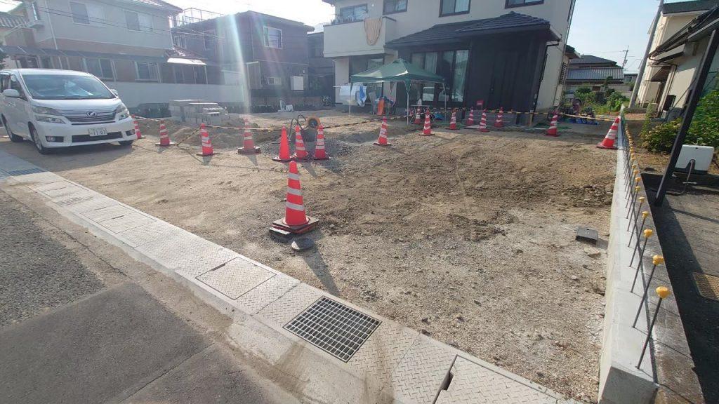 岡山市北区新築エクステリア(アプローチ・カーポート・目隠しフェンス)